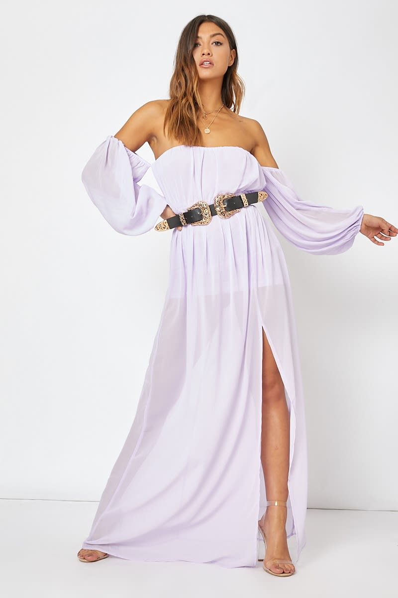 Lilac Bardot Western Belted Split Front Maxi Dress | In The