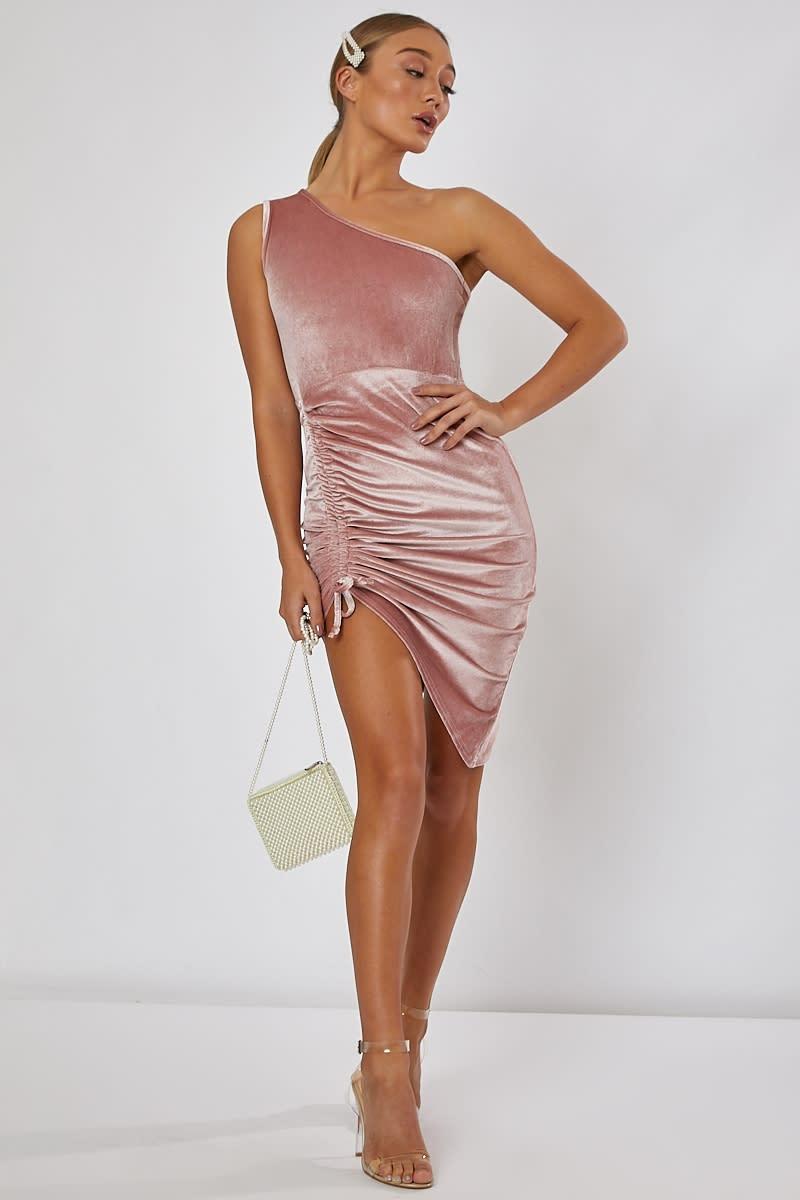 blush one shoulder velvet midi dress