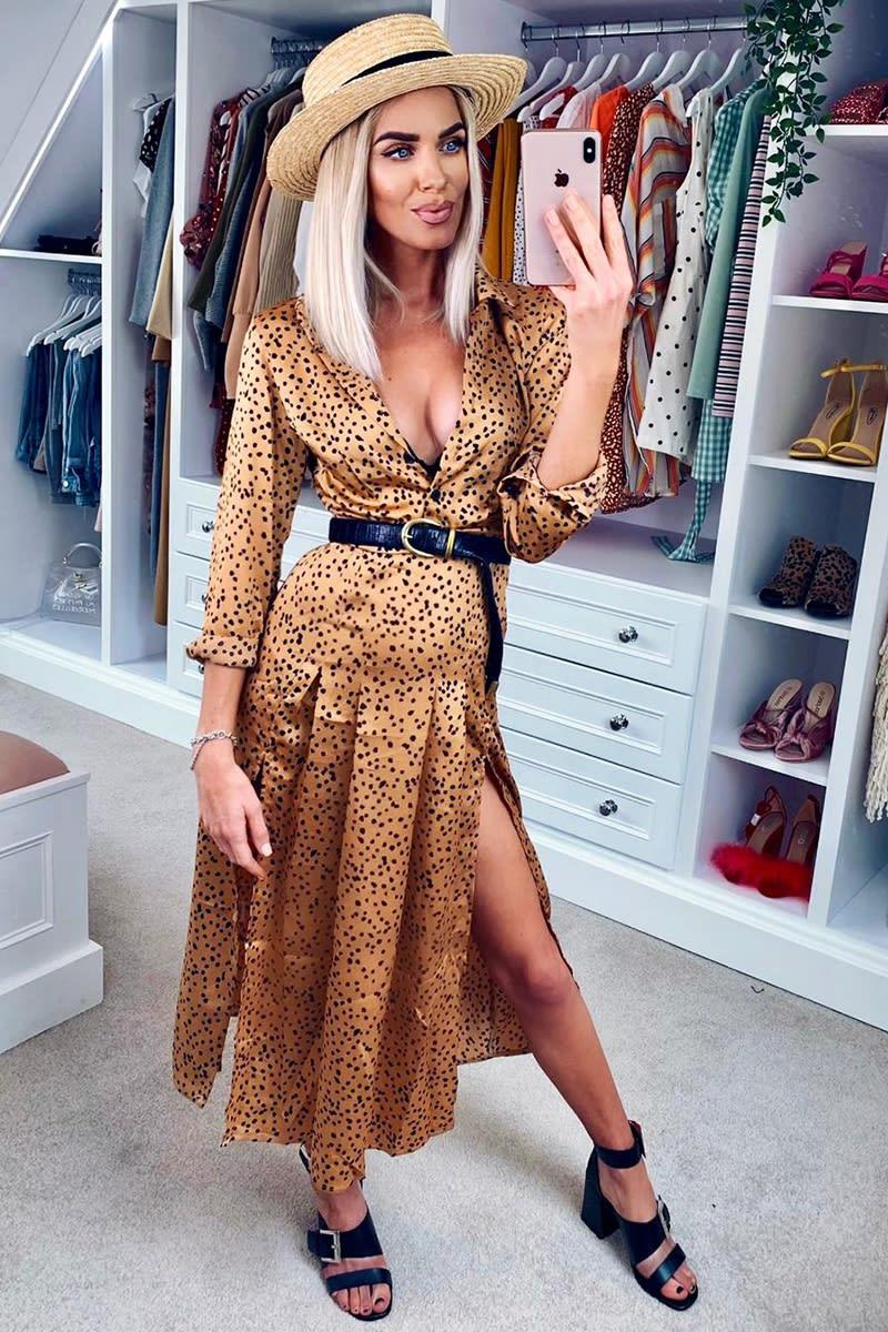 gold satin polka dot midi shirt dress