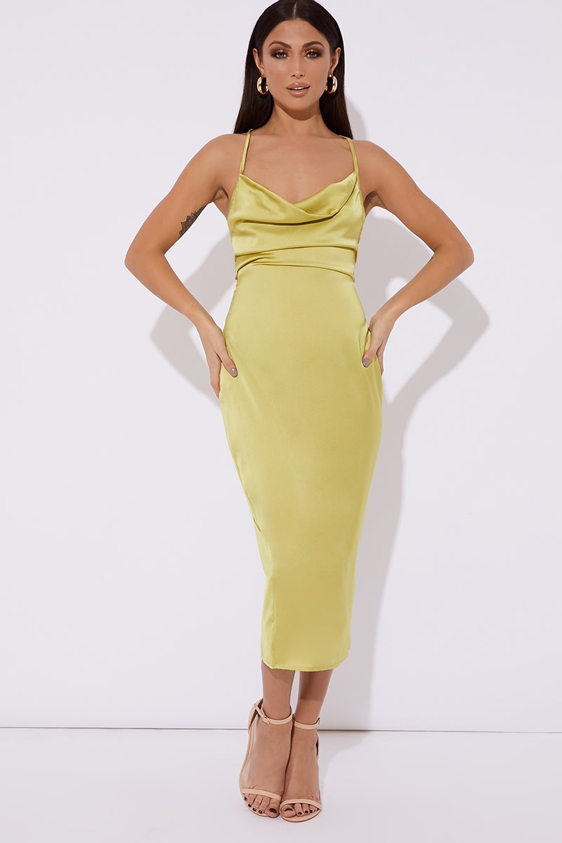 lime satin cowl lace up back midi dress