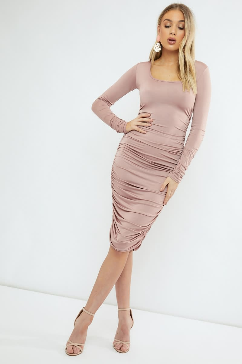 nude slinky square neck midi dress