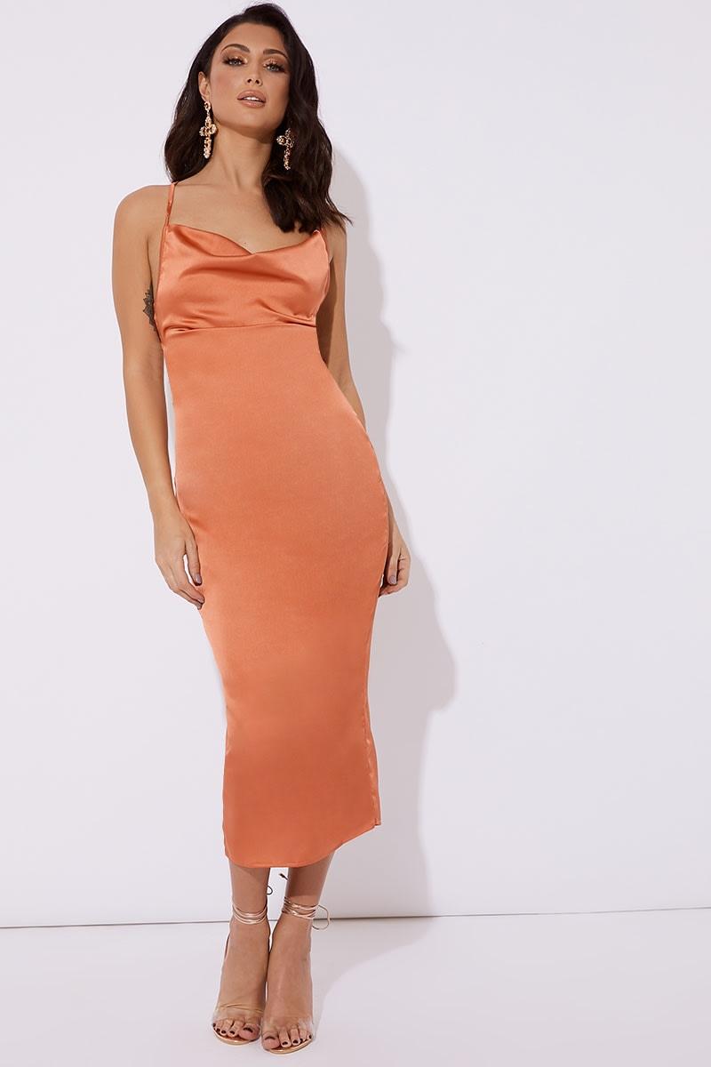 orange satin cowl lace up back midi dress