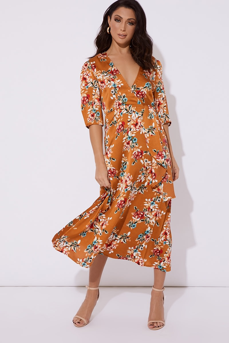 orange satin floral print midi dress