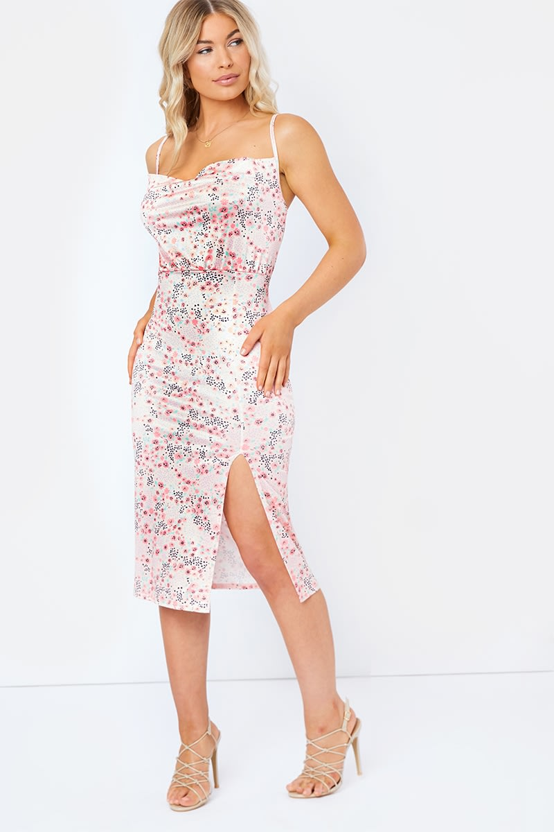 pink floral cowl neck split front midi dress