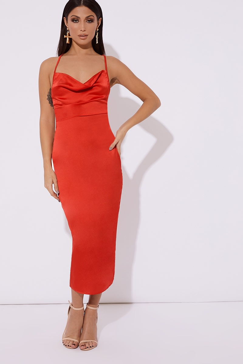 red satin cowl lace up back midi dress