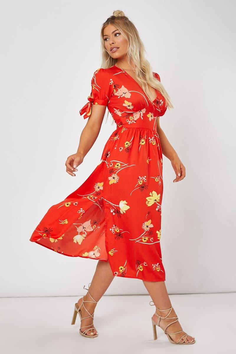 red floral tie sleeve midi dress