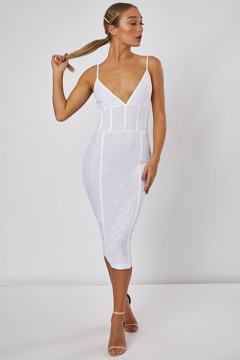white mesh panelled midi dress