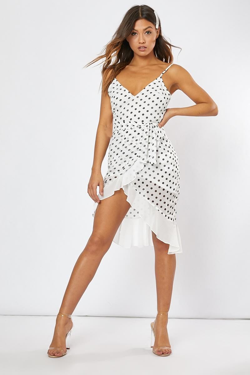 white polka dot wrap midi dress