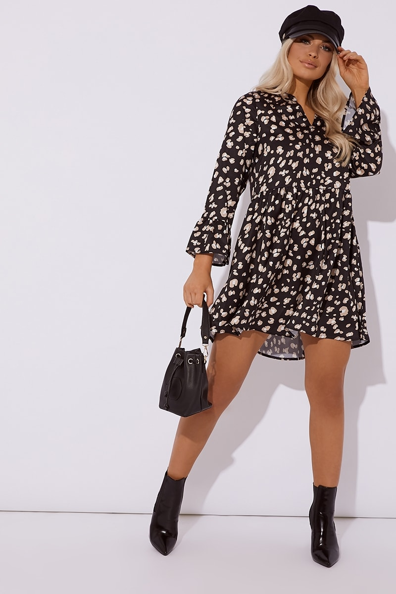 black leopard print satin smock dress