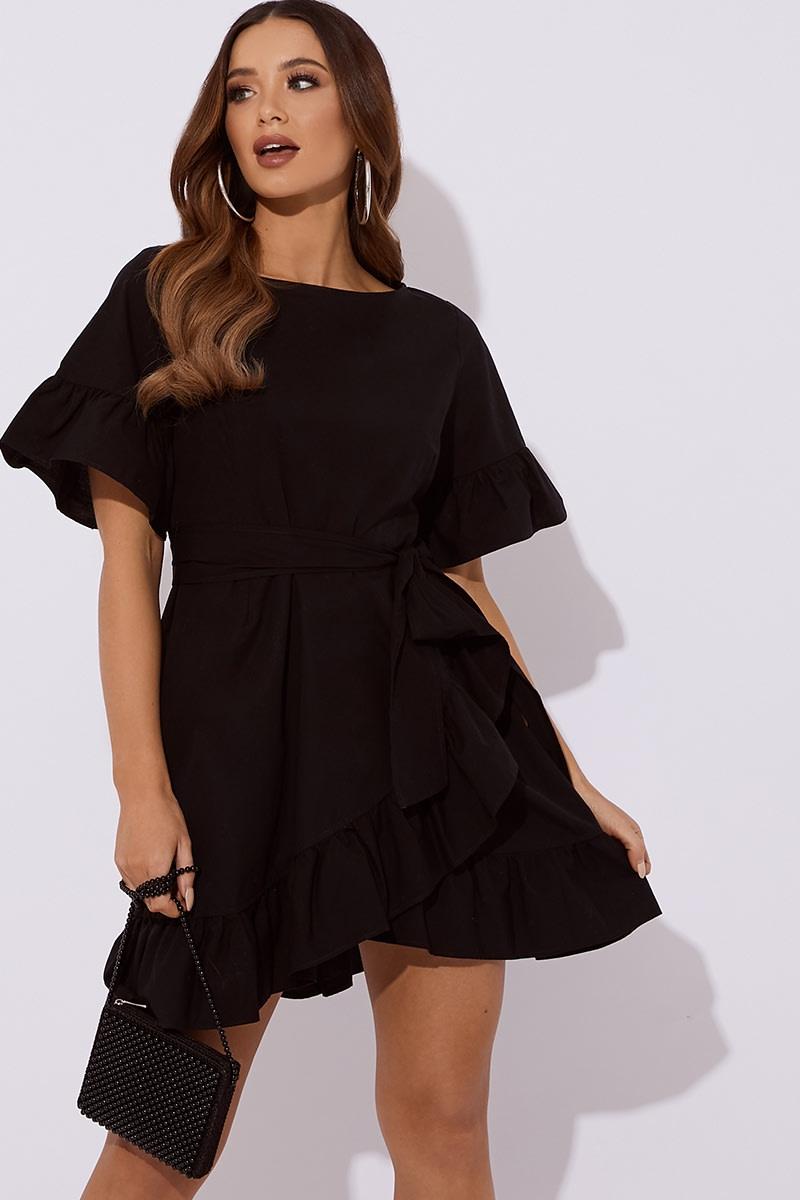 black cotton poplin frill tie waist mini dress
