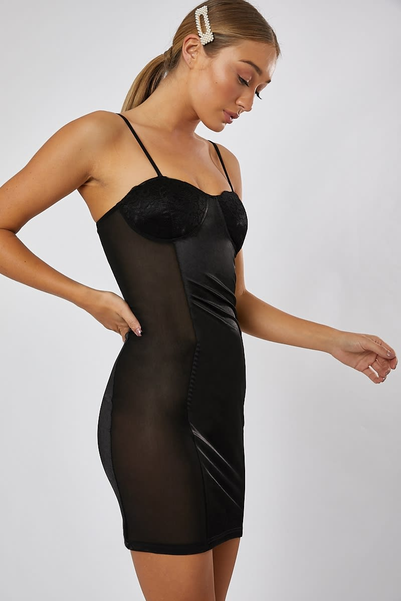 black bustier mesh panel satin mini dress