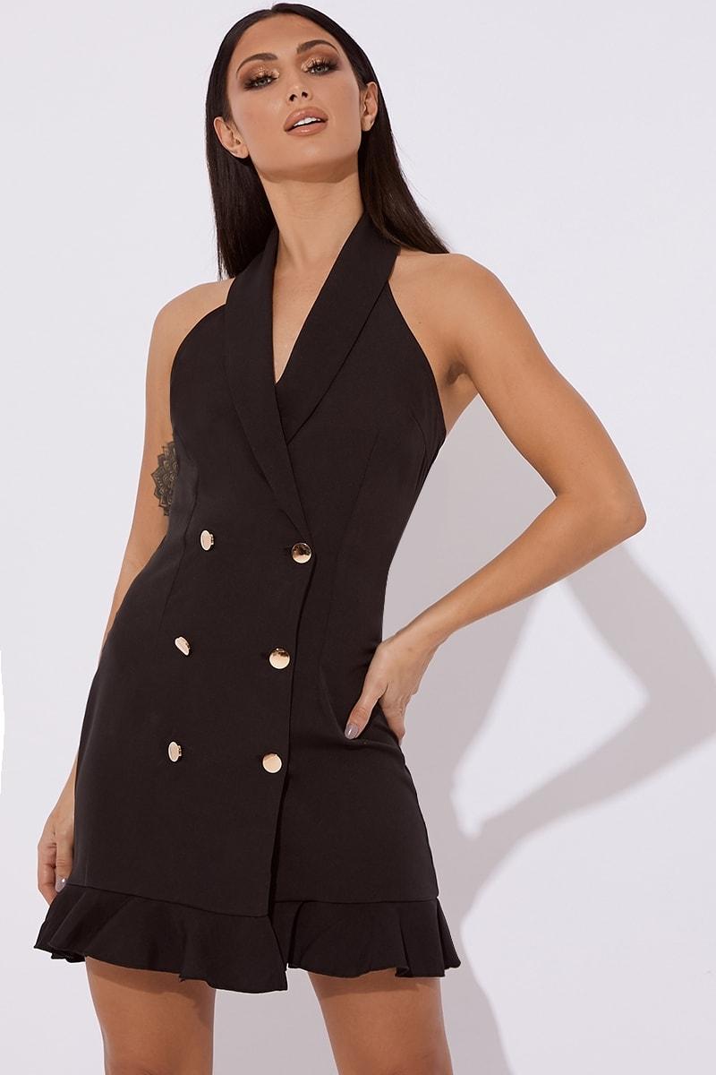black halterneck buttoned mini dress