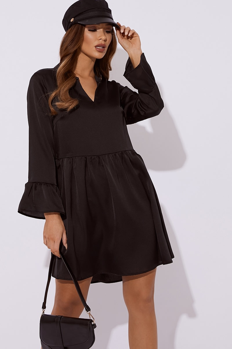 black satin plunge smock dress