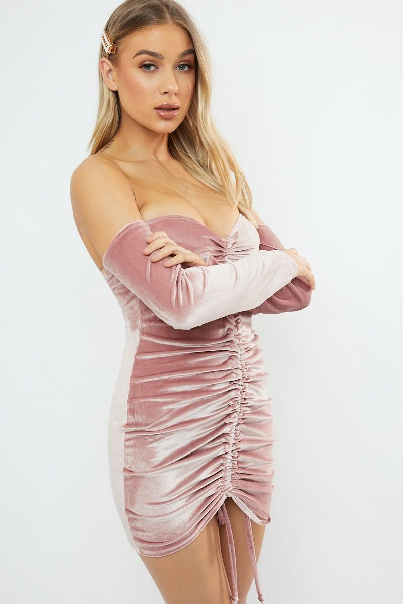 blush velvet ruched bardot mini dress