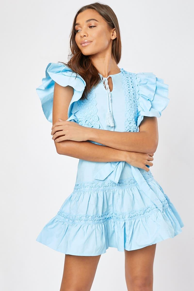 blue frill detail lace trim tie waist mini dress