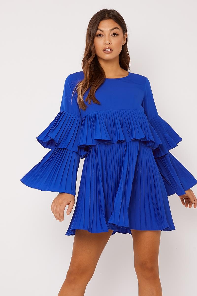 cobalt pleated mini dress