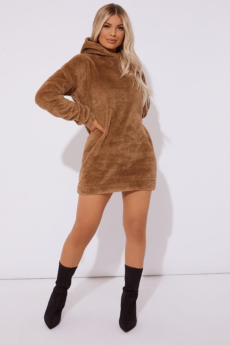 camel borg crew neck hooded lounge sweat dress