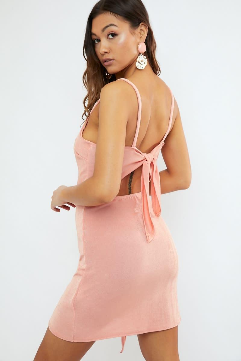 peach open back wrap front mini dress