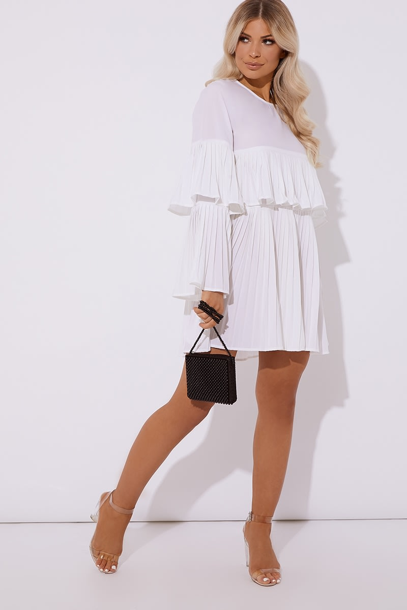 ivory pleated mini dress