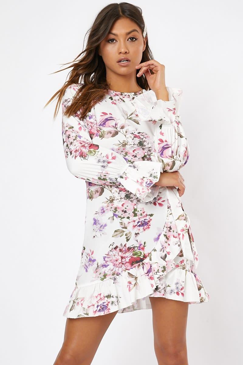 cream floral tie waist frill mini dress