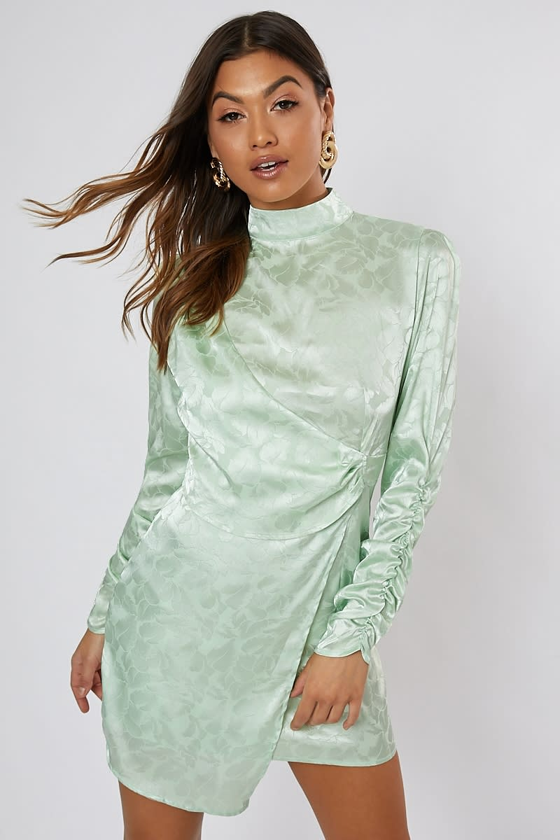 green jacquard high neck mini dress