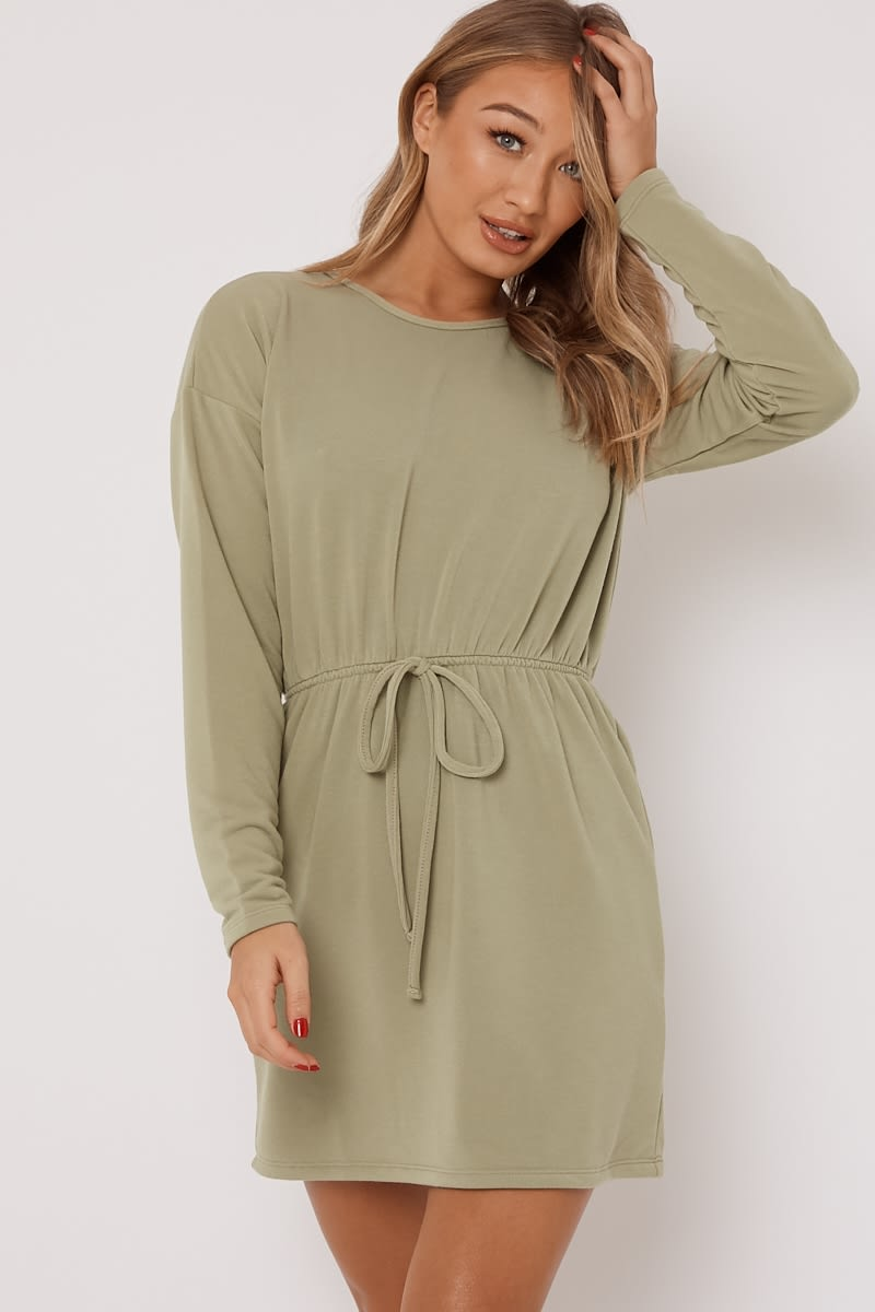 sage drawstring waist loungewear sweater dress