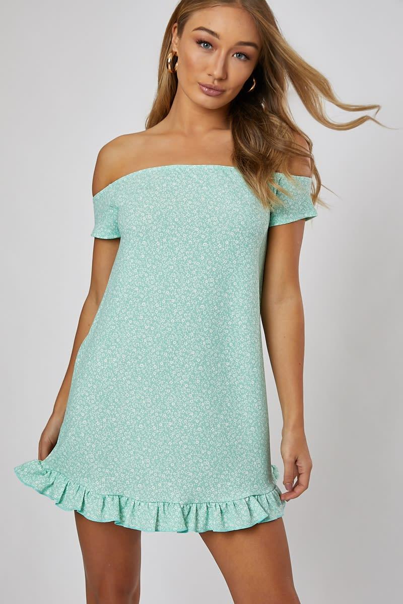 sage green ditsy bardot mini dress