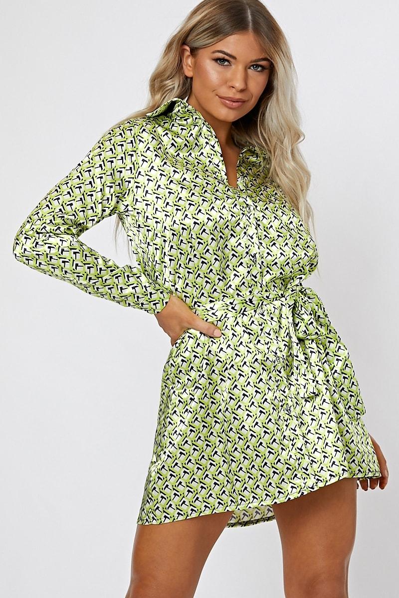 lime satin geo shirt dress