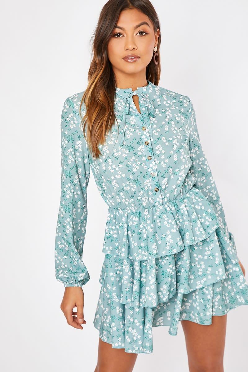 sage floral button detail tiered dress