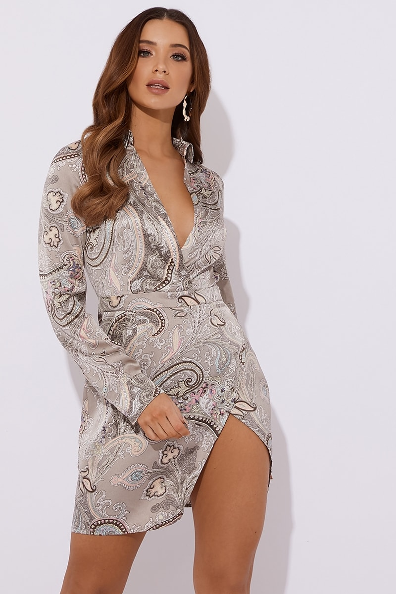 grey paisley satin split front mini dress