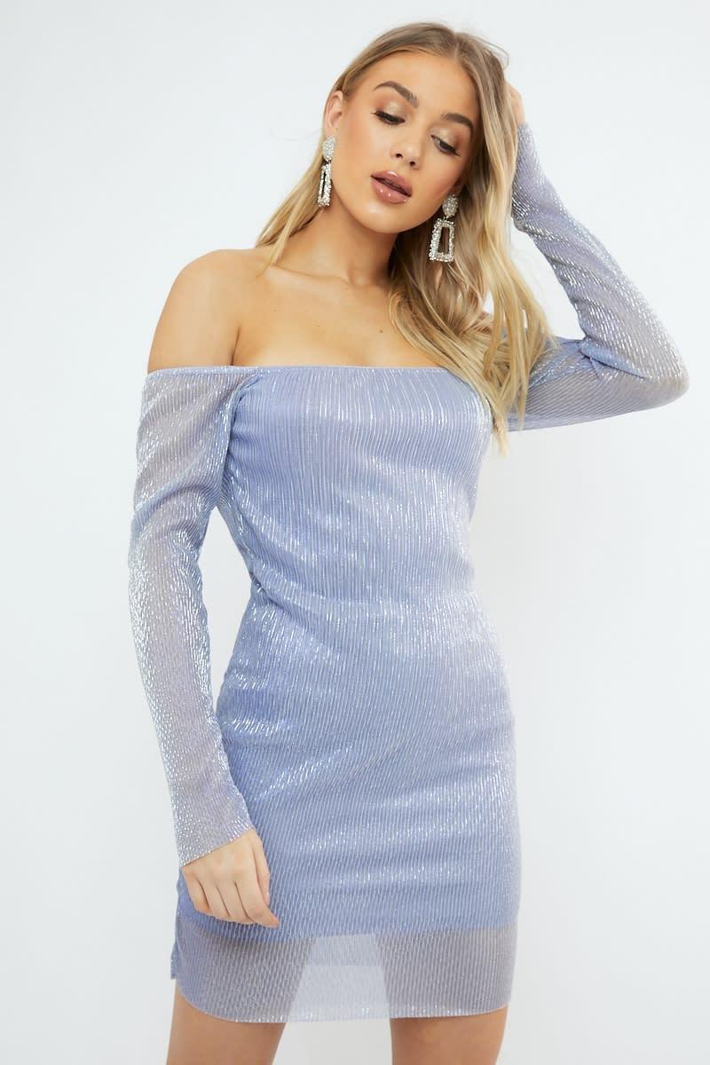 lilac metallic sheer bardot dress