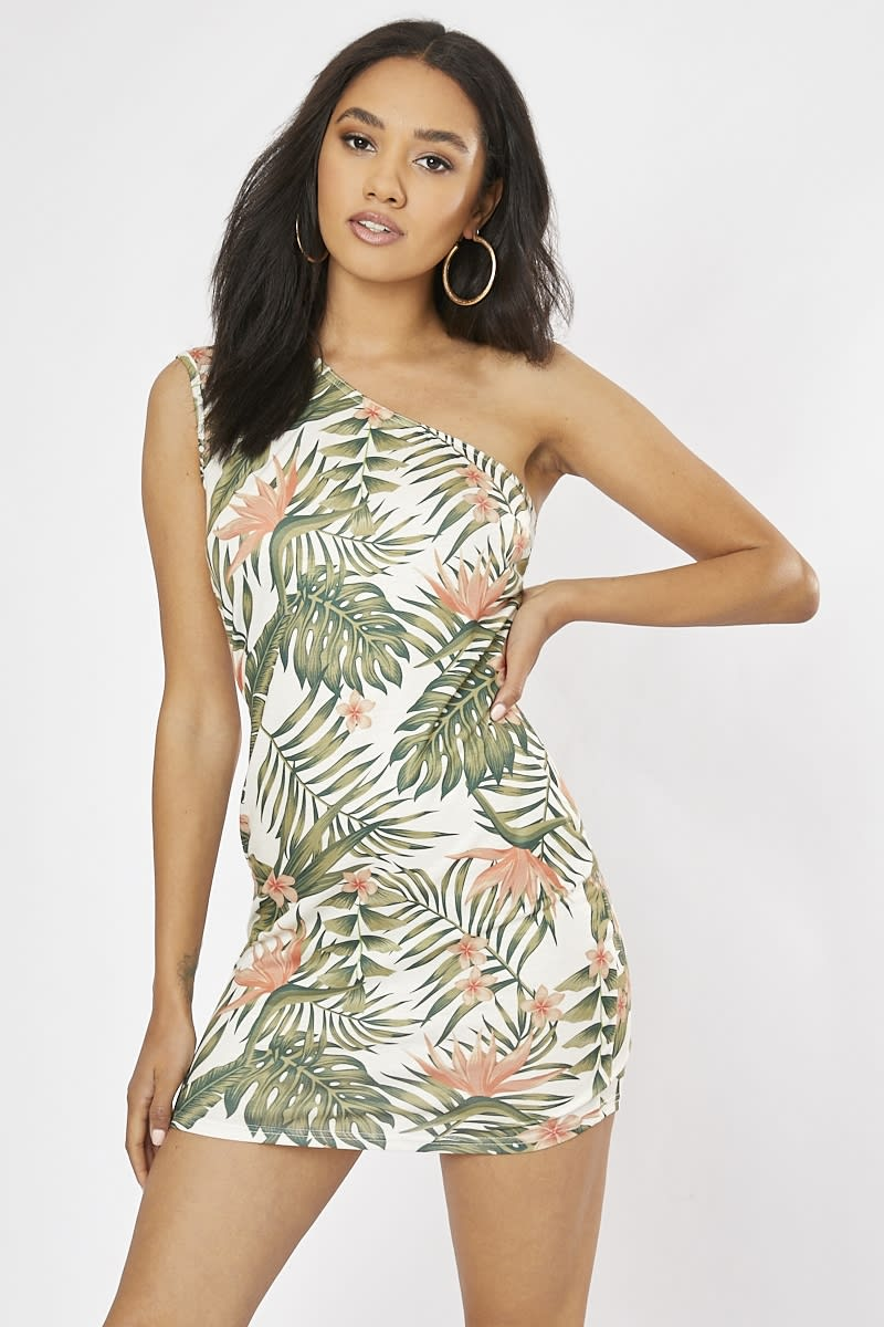 white tropical print one shoulder mini dress