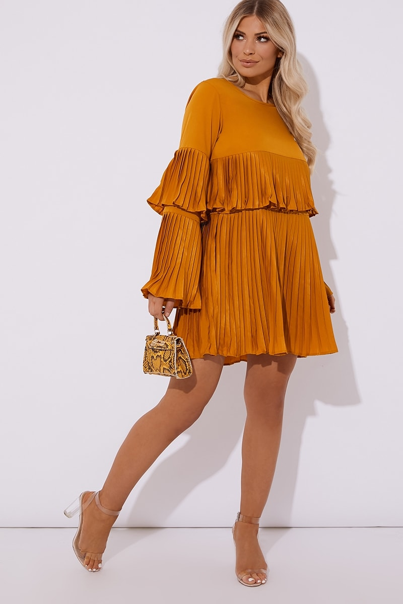 mustard pleated mini dress