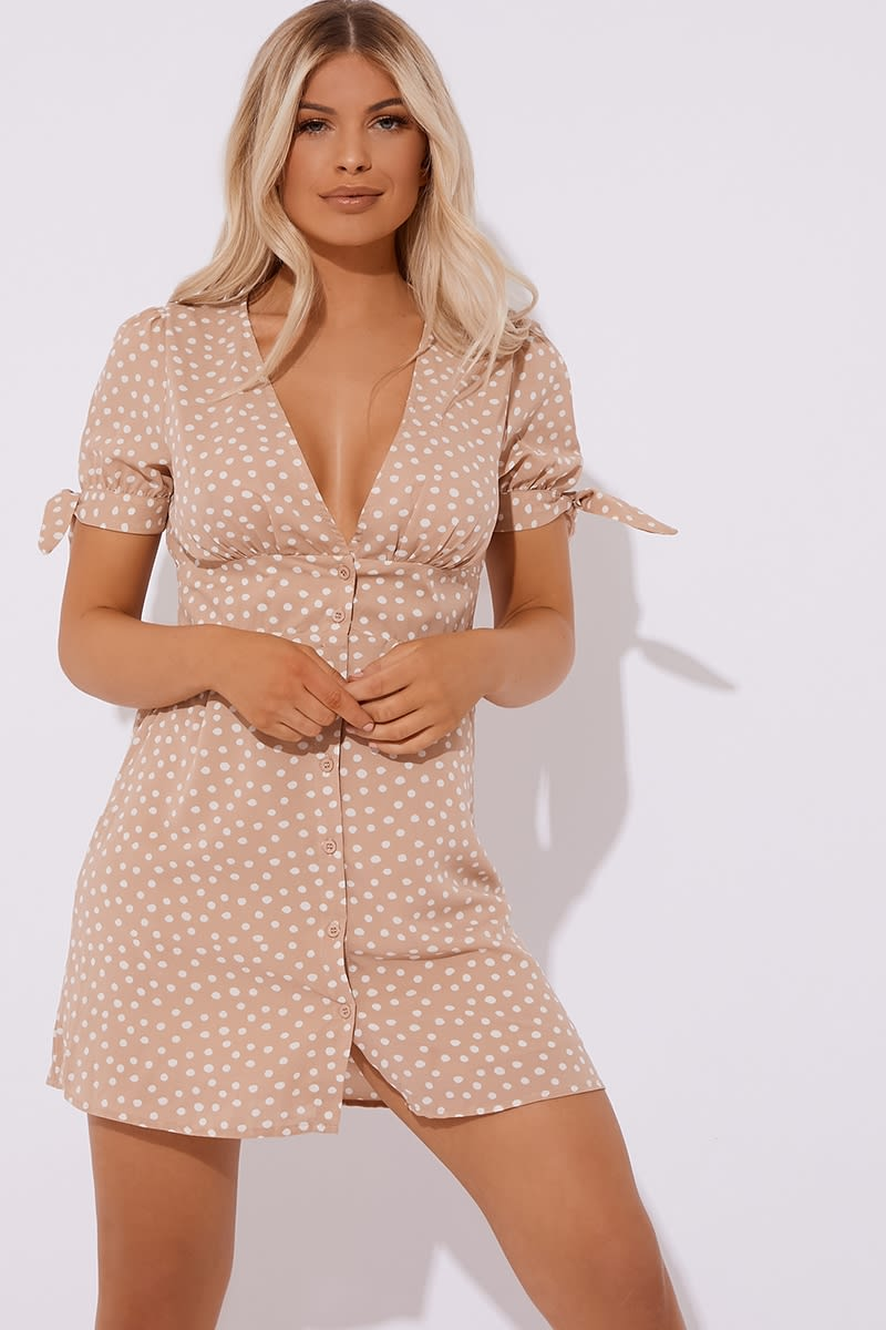 nude polka dot button down mini dress