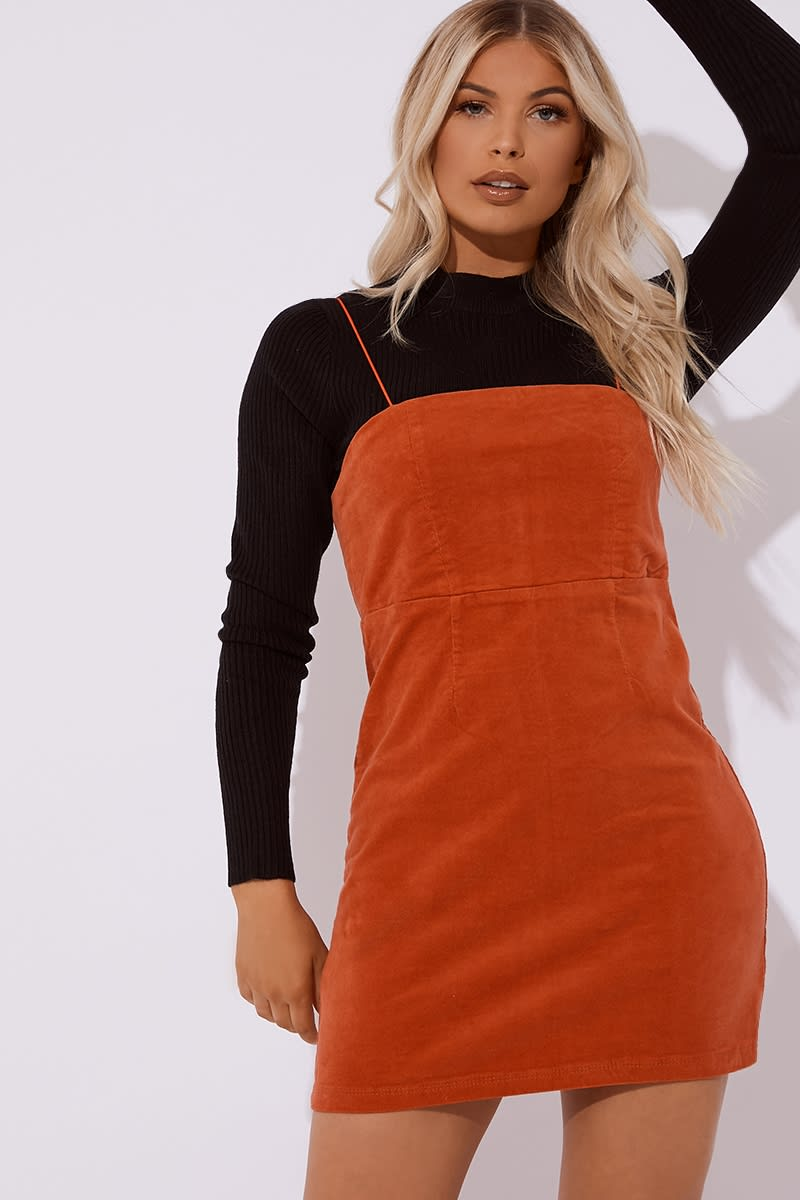 orange cord mini dress