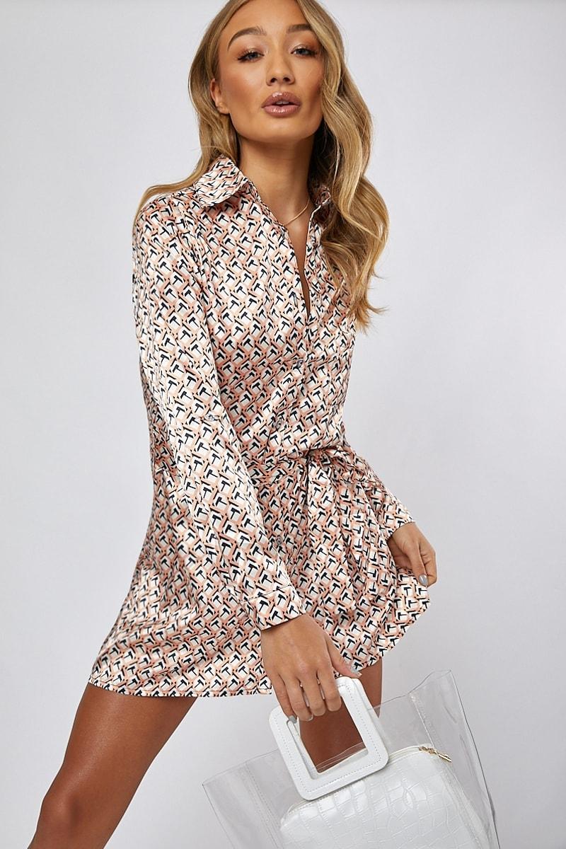 peach satin geo shirt dress