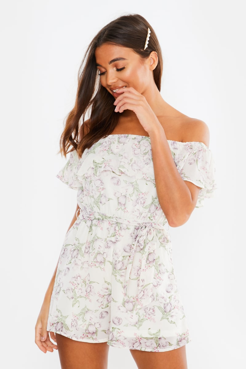 white floral chiffon bardot playsuit