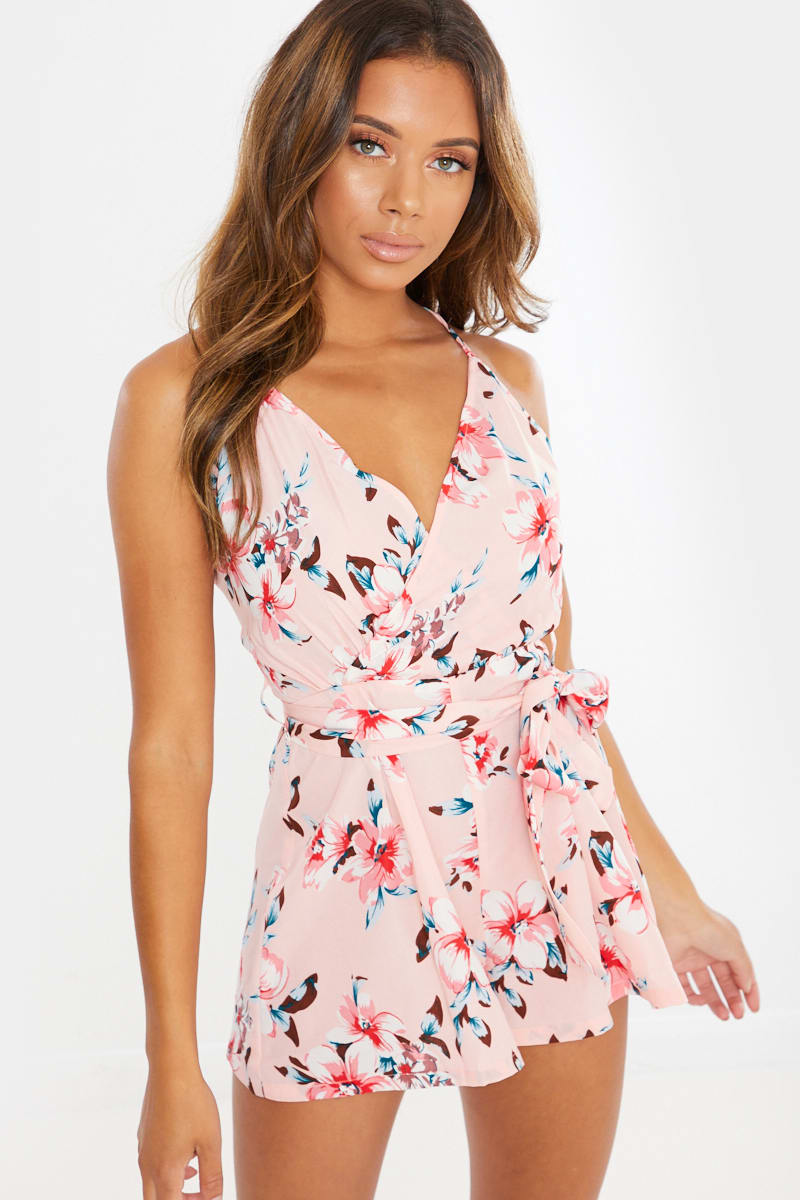 pink floral cami playsuit
