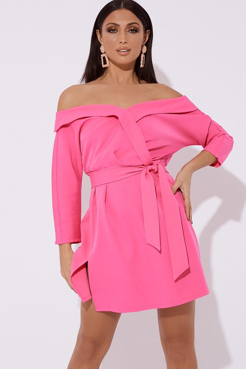 pink bardot tie waist mini dress