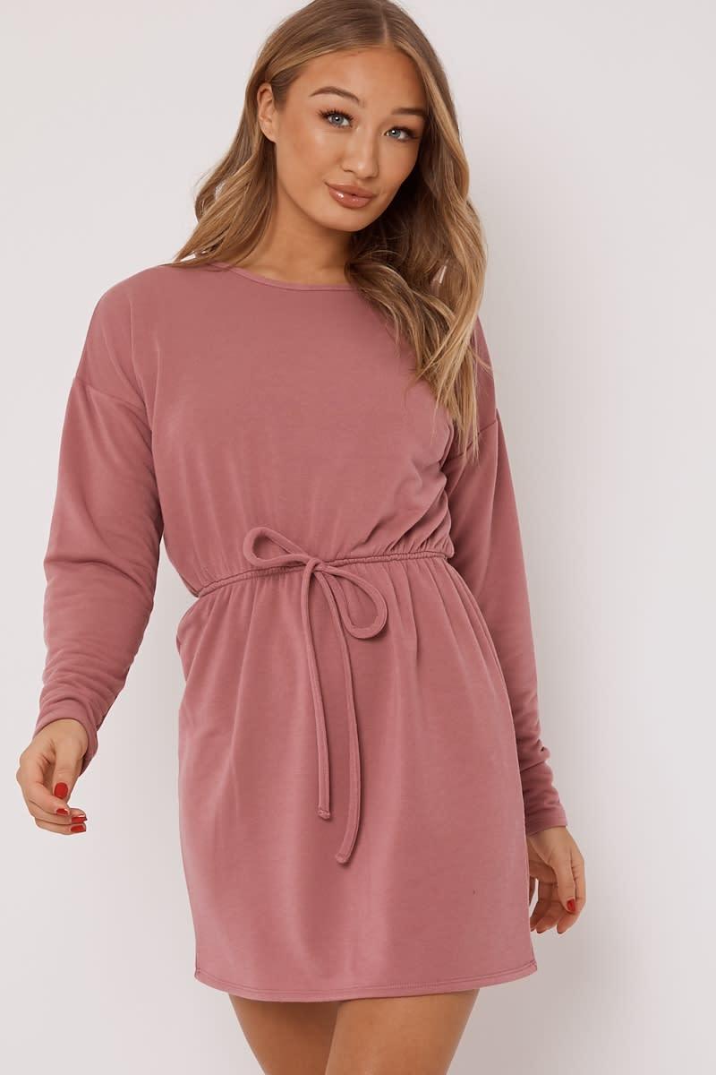 dusky pink drawstring waist loungewear sweater dress