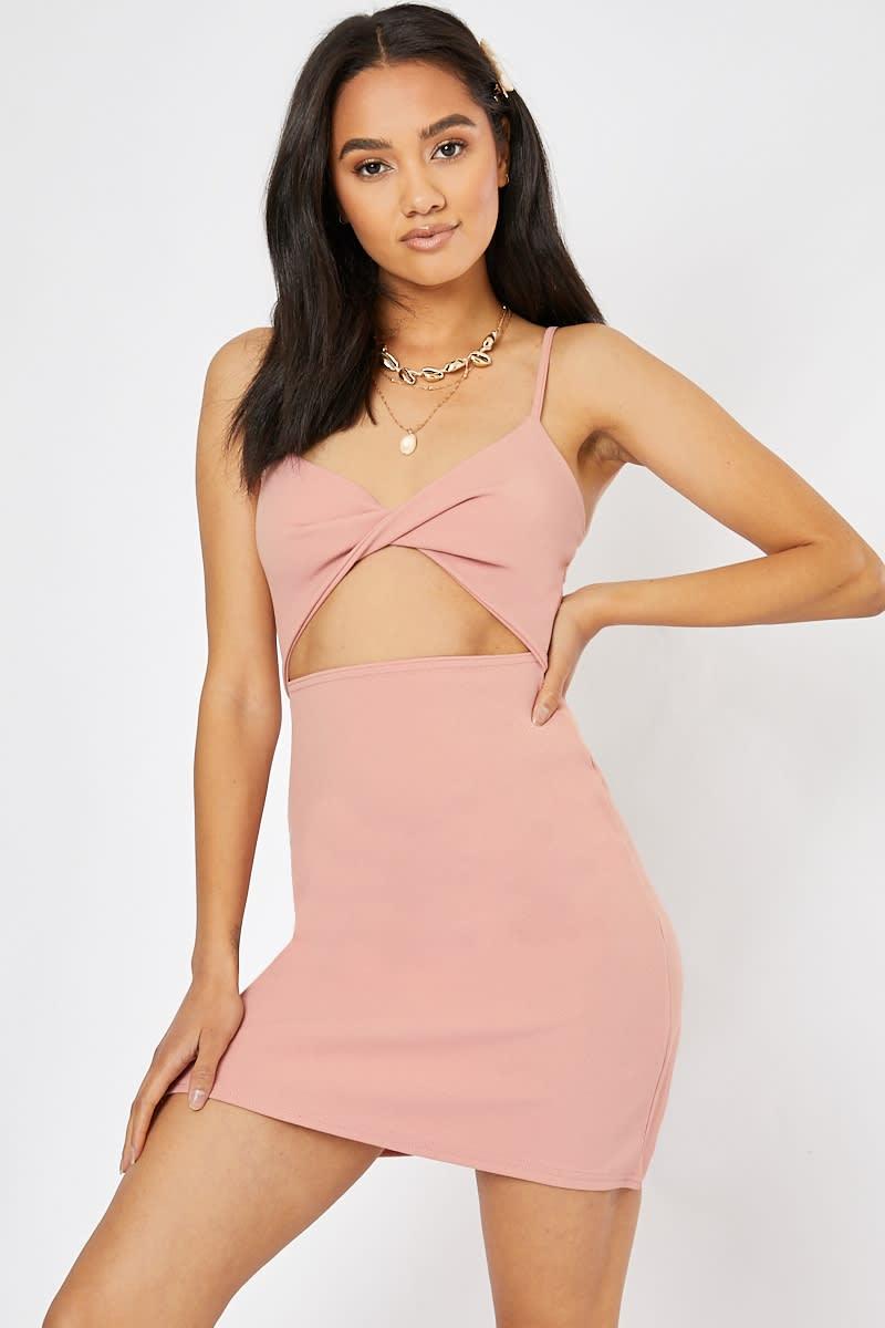 pink twist front cut out mini dress