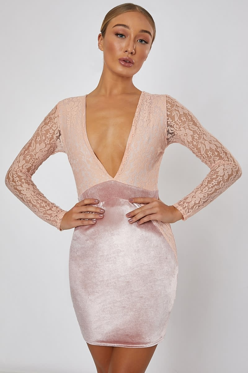 pink lace and velvet mini dress