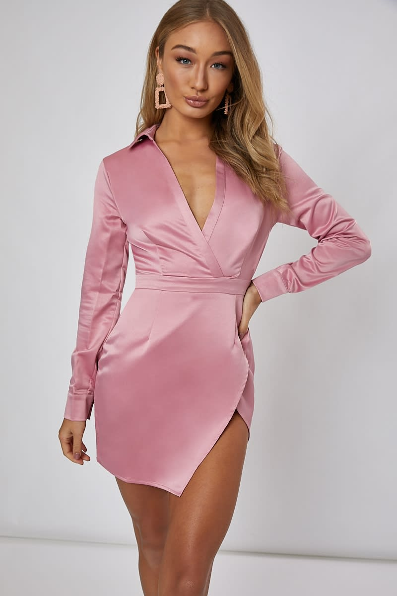 ANAFAA PINK SPLIT FRONT MINI DRESS