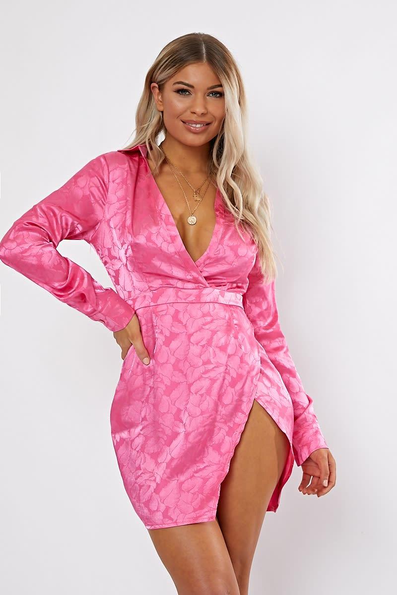 pink jacquard split front mini dress