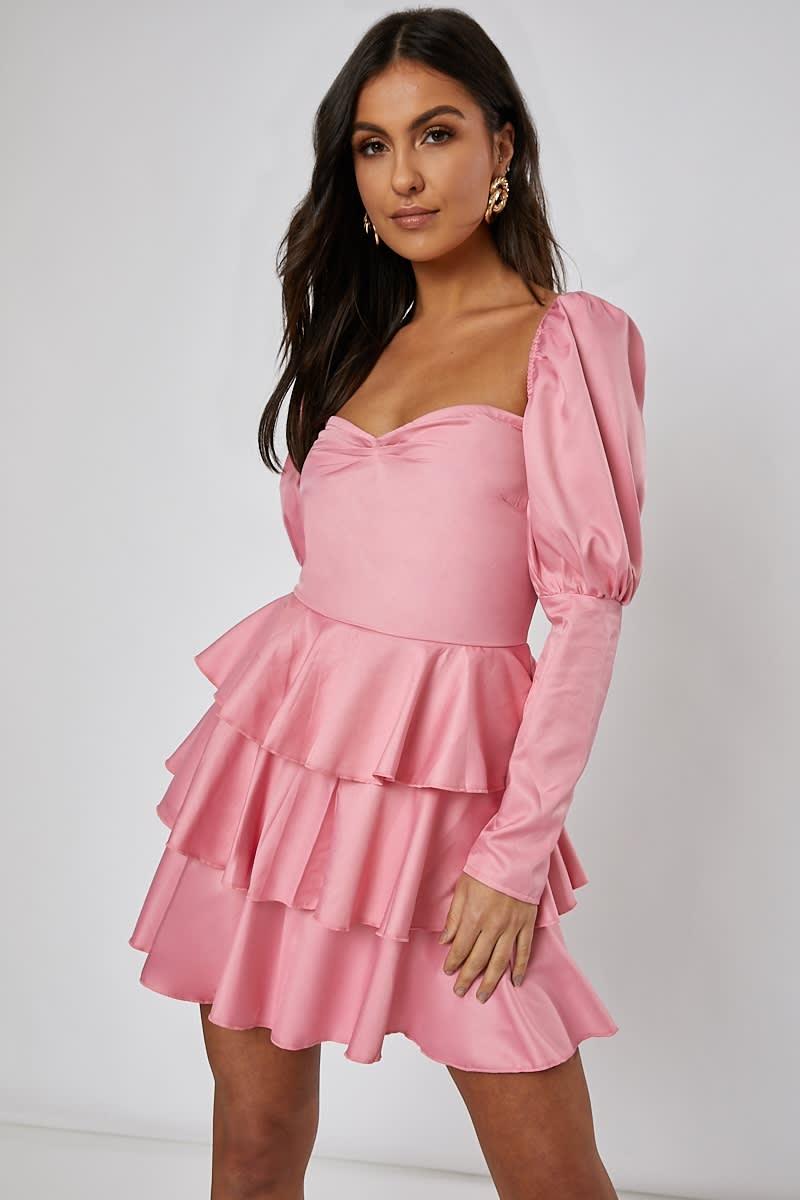 rose pink puff sleeve tiered mini dress