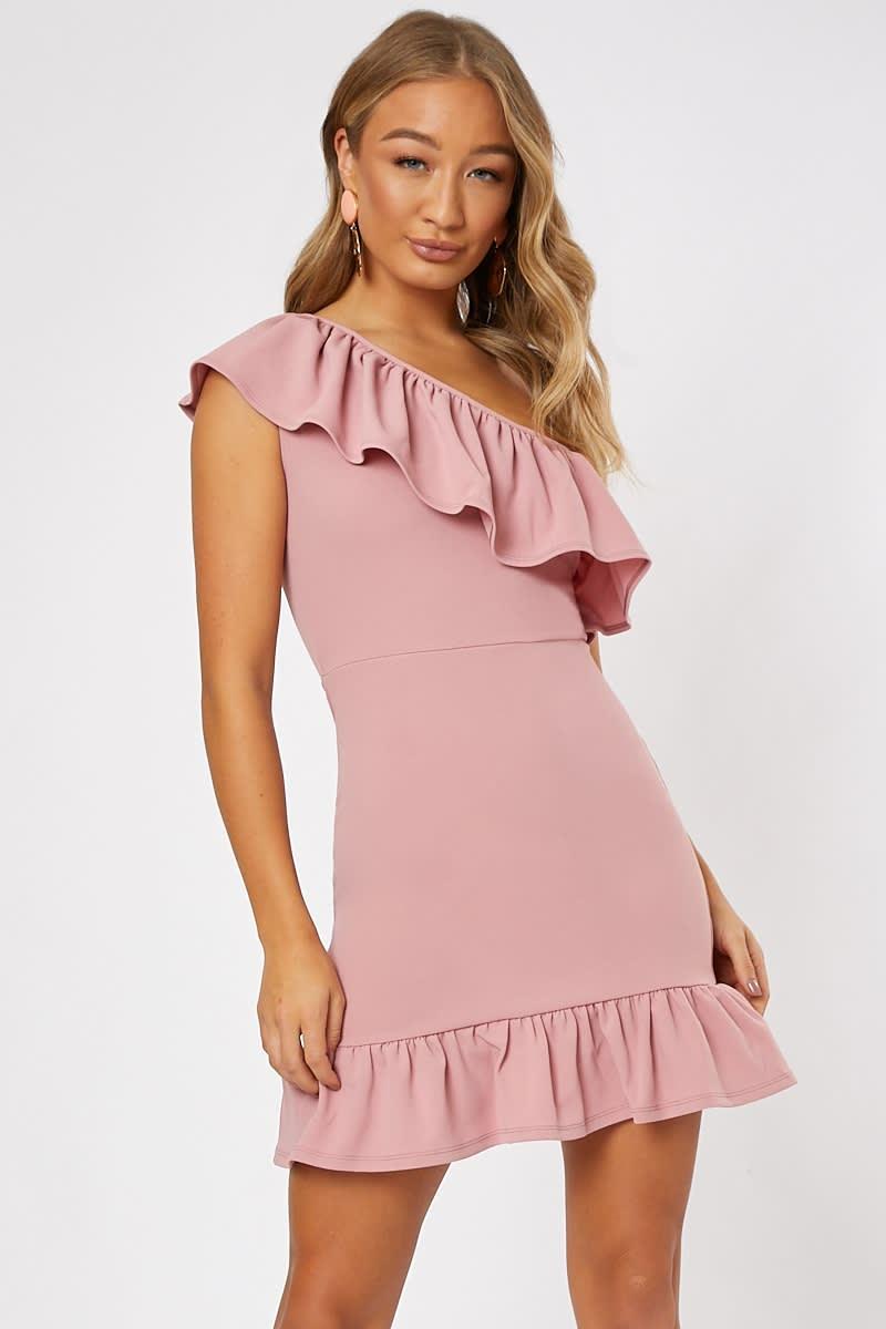 blush pink one shoulder ruffle mini dress