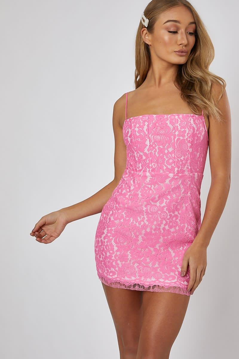pink lace mini cami dress