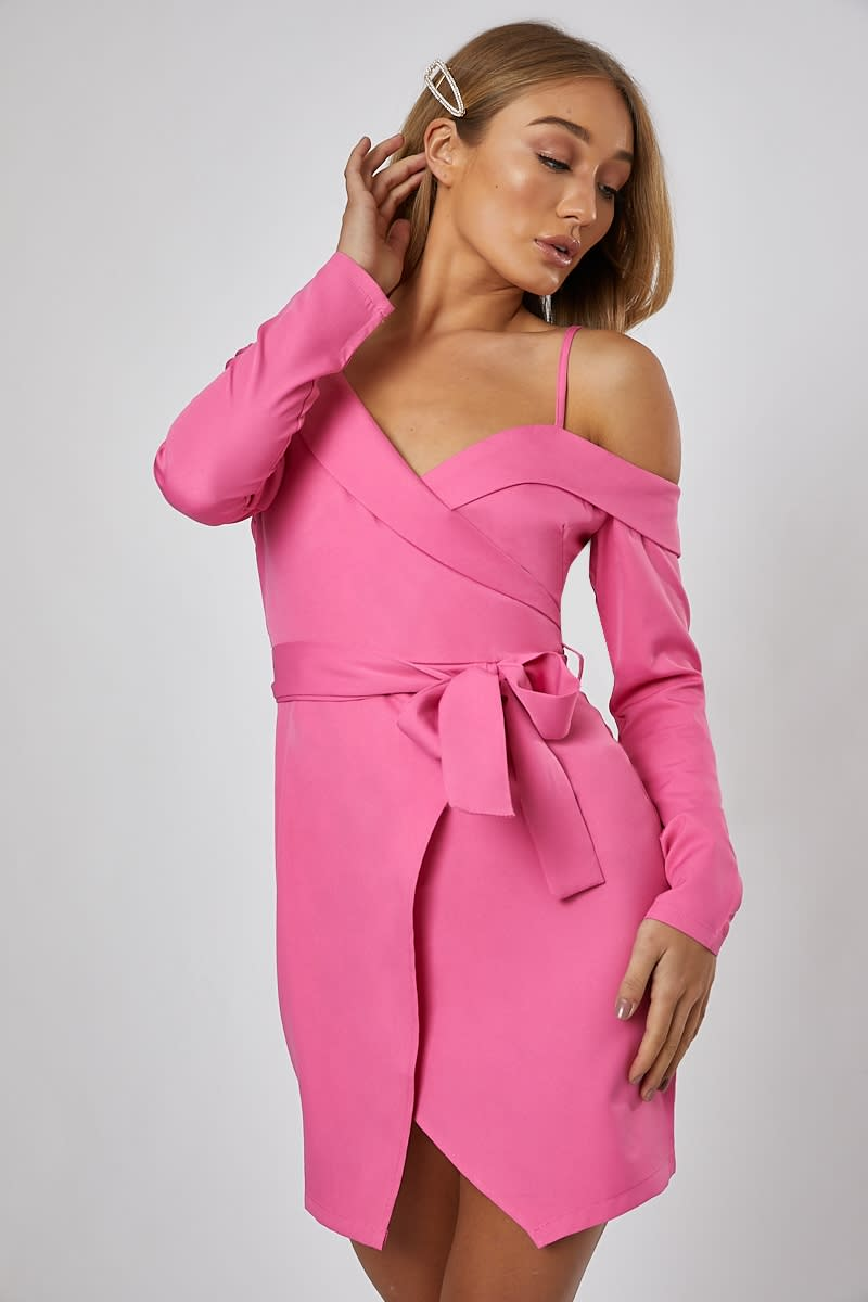 pink off the shoulder wrap dress