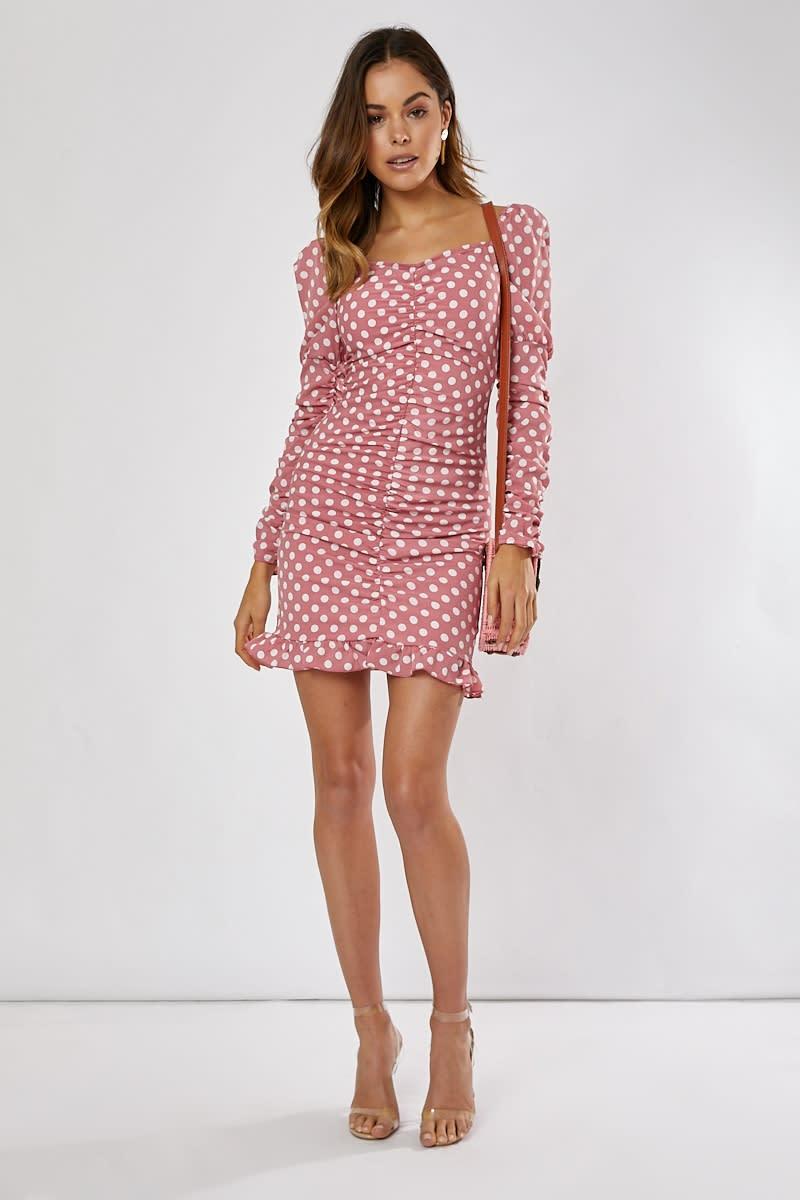 pink and white polka dot puff sleeve ruched frill hem mini dress
