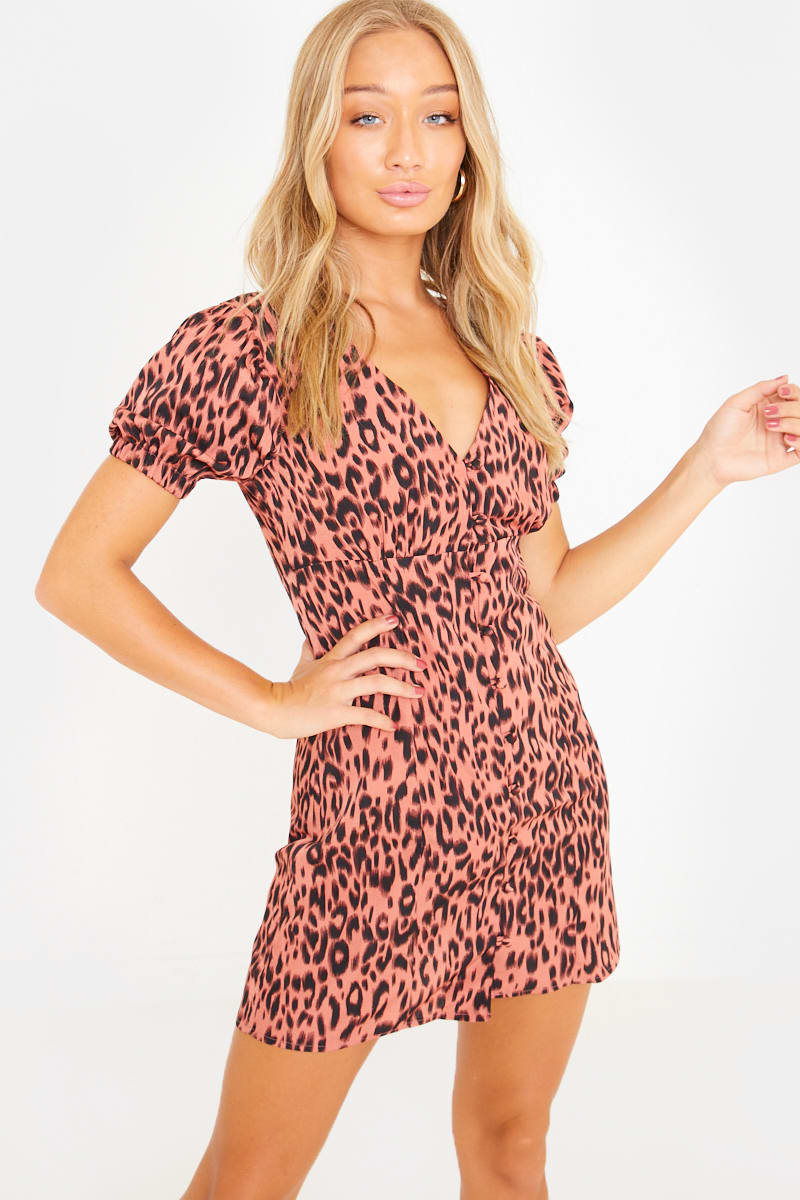 pink leopard puff sleeve button through gypsy mini dress
